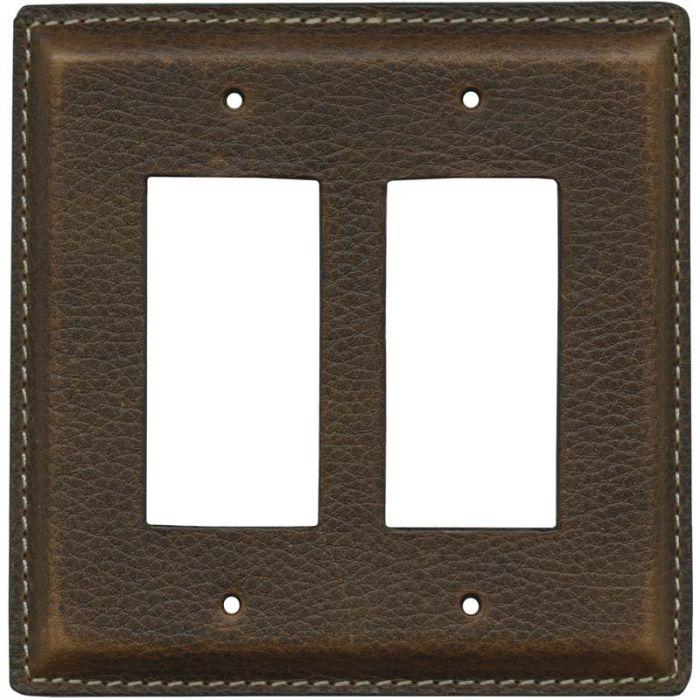 Brown Pebble Grain Leather 2 Gang Double GFCI Rocker Decorator Wallplates