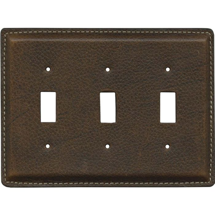 Brown Pebble Grain Leather Triple 3 Toggle Light Switch Covers