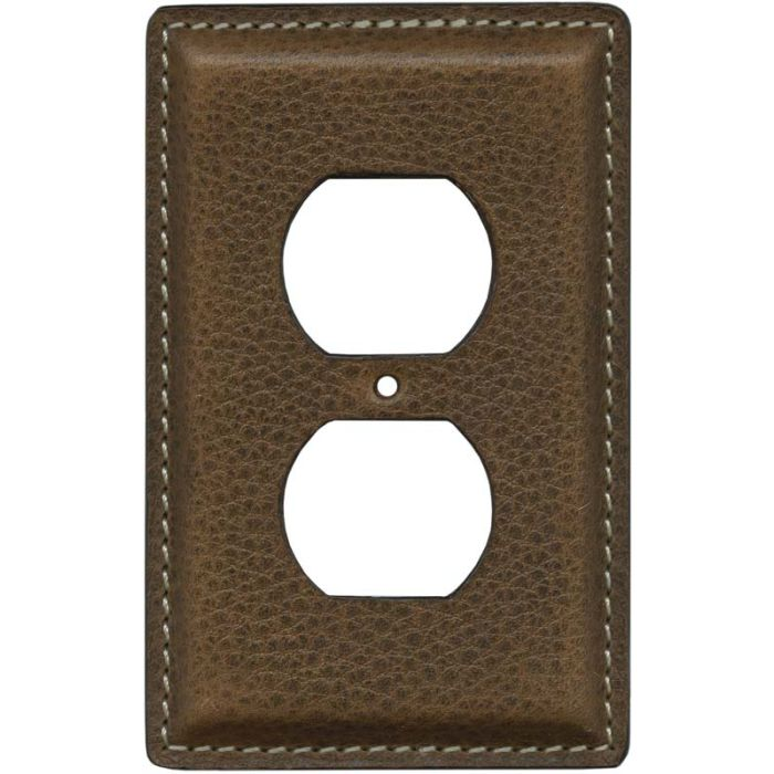 Brown Pebble Grain Leather 1 Gang Duplex Outlet Cover Wall Plate