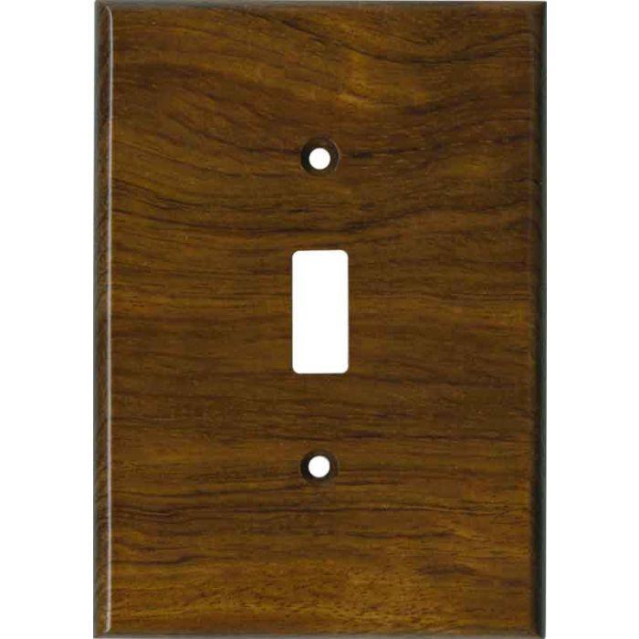 Bubinga Satin Lacquer Single 1 Toggle Light Switch Plates