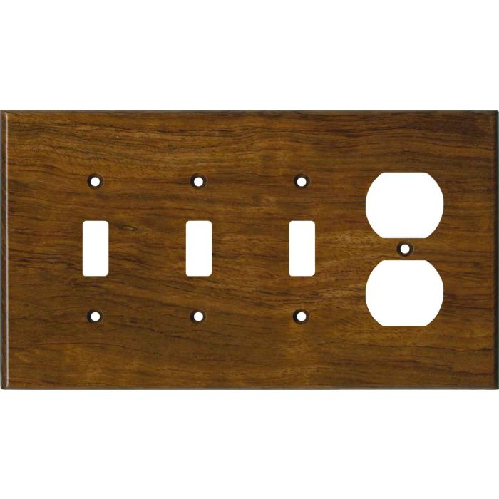 Bubinga Satin Lacquer Combination Triple 3 Toggle / Outlet Wall Plate Covers