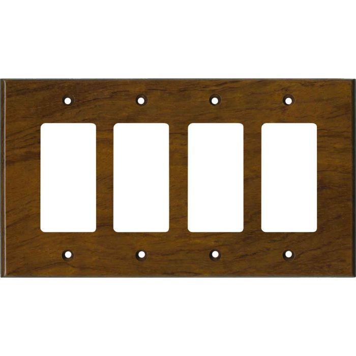Bubinga Satin Lacquer 4 Rocker GFCI Decorator Switch Plates