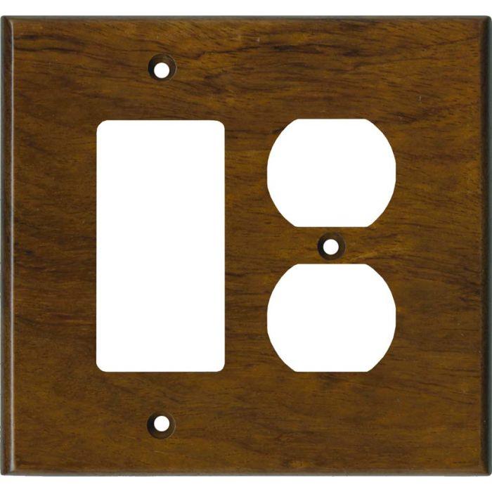 Bubinga Satin Lacquer Combination GFCI Rocker / Duplex Outlet Wall Plates