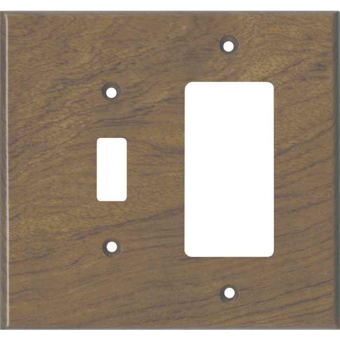 Bubinga Unfinished - Combination 1 Toggle/Rocker Switch Covers