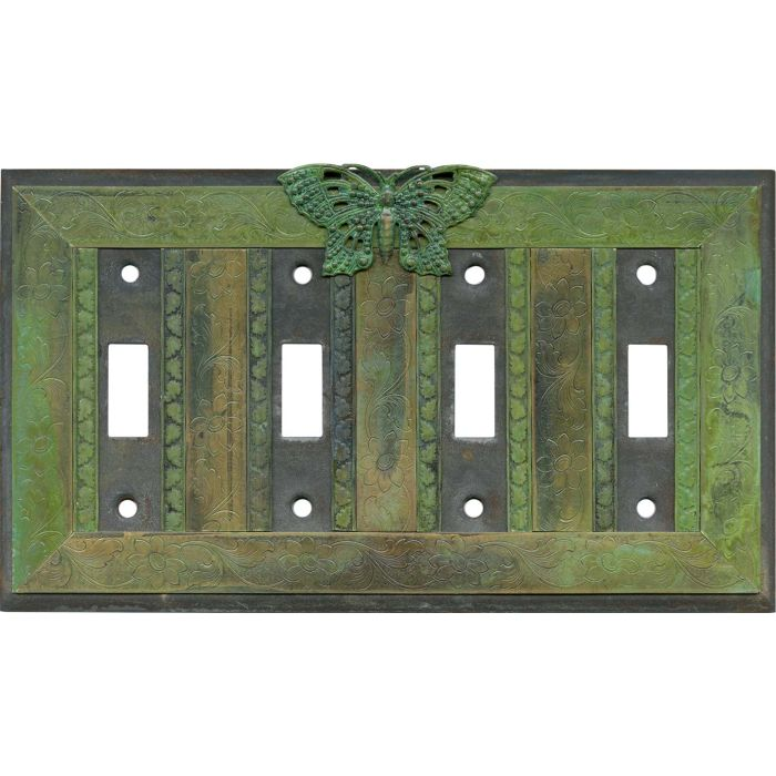 Butterfly Quad 4 Toggle Light Switch Covers