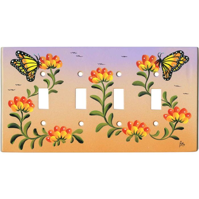 Butterfly And Flowers 4 Toggle Light Switch Covers Wall Plates