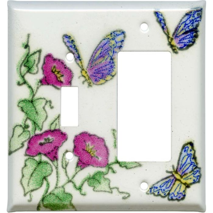 Butterfly Garden Combination 1 Toggle / Rocker GFCI Switch Covers