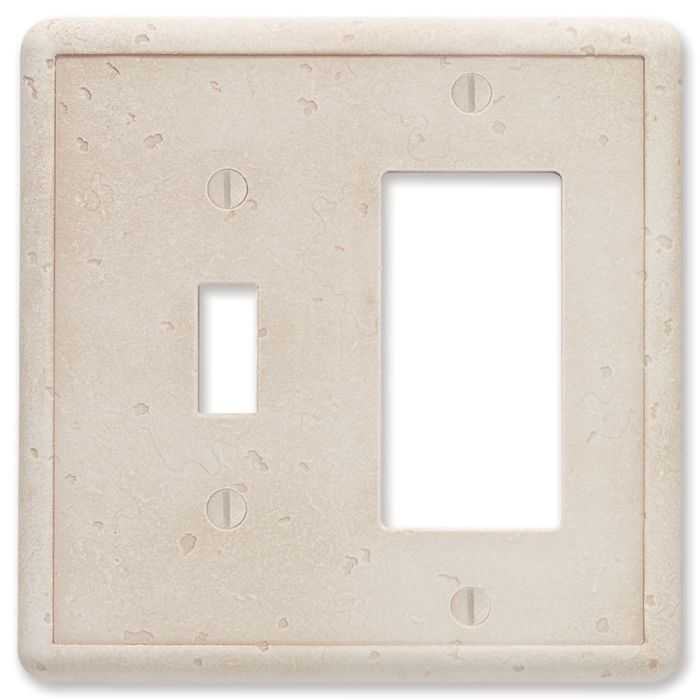 Cast Stone Ivory Combination 1 Toggle / Rocker GFCI Switch Covers