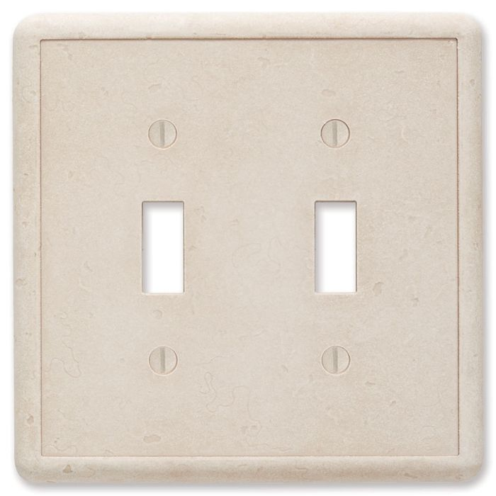 Cast Stone Ivory Double 2 Toggle Switch Plate Covers
