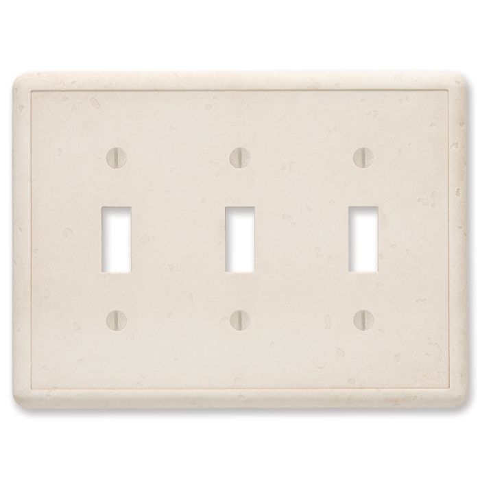 Cast Stone Ivory Triple 3 Toggle Light Switch Covers