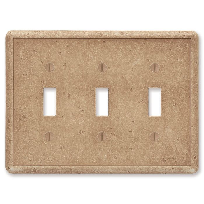 Cast Stone Noche Tumbled Texture Triple 3 Toggle Light Switch Covers
