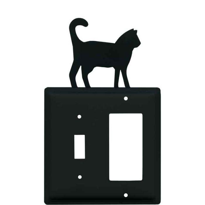 Cat Black Combination 1 Toggle / Rocker GFCI Switch Covers