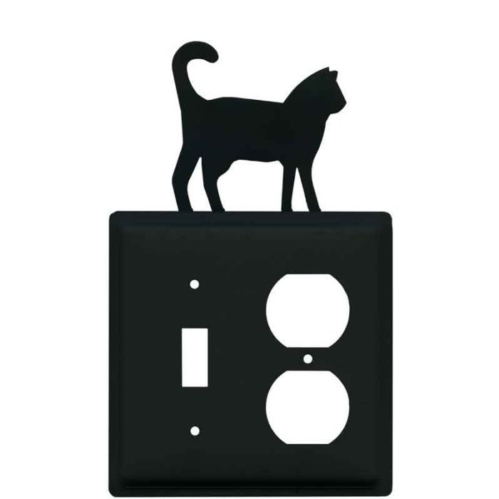Cat Black Combination 1 Toggle / Outlet Cover Plates