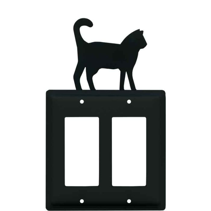 Cat Black 2 Gang Double GFCI Rocker Decorator Wallplates