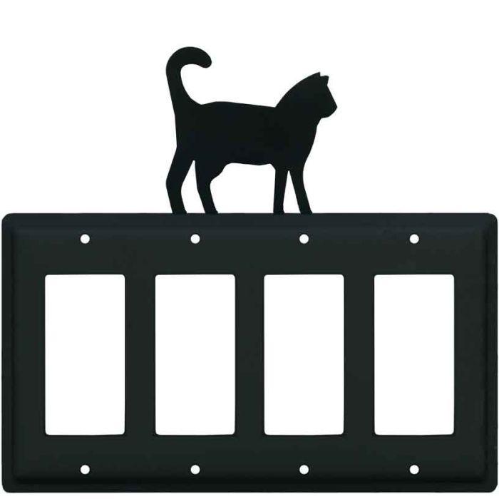 Cat Black 4 Rocker GFCI Decorator Switch Plates