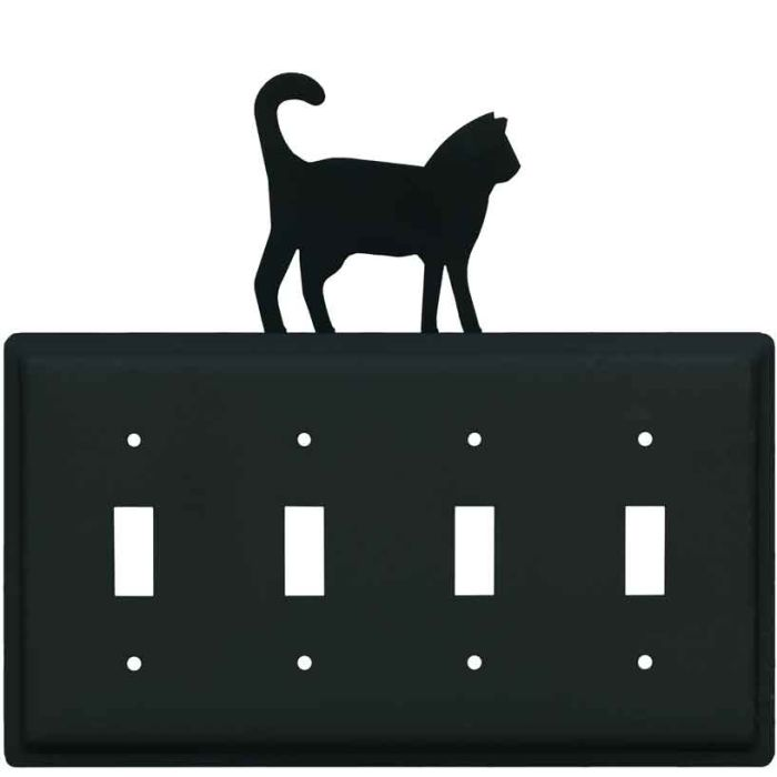 Cat Black Quad 4 Toggle Light Switch Covers