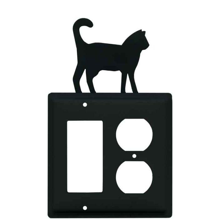 Cat Black Combination GFCI Rocker / Duplex Outlet Wall Plates