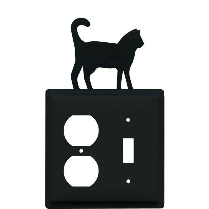 Cat Black1-Duplex / 1-Toggle - Combination Wall Plates