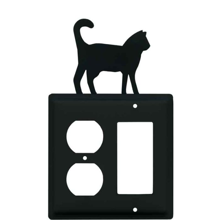 Cat Black 1-Duplex / 1 Decorator Rocker - Combination Switch Cover
