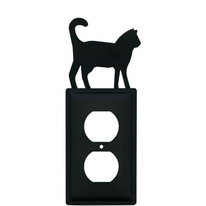 Cat Black 1 Gang Duplex Outlet Cover Wall Plate