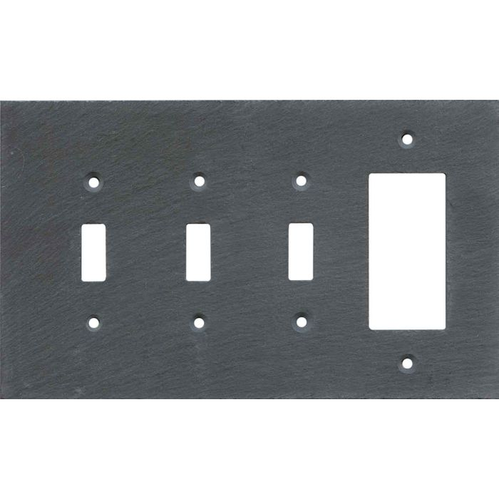 Vermont Charcoal Slate Triple 3 Toggle / 1 Rocker GFCI Switch Covers