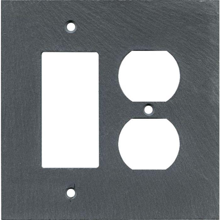 Vermont Charcoal Slate Combination GFCI Rocker / Duplex Outlet Wall Plates