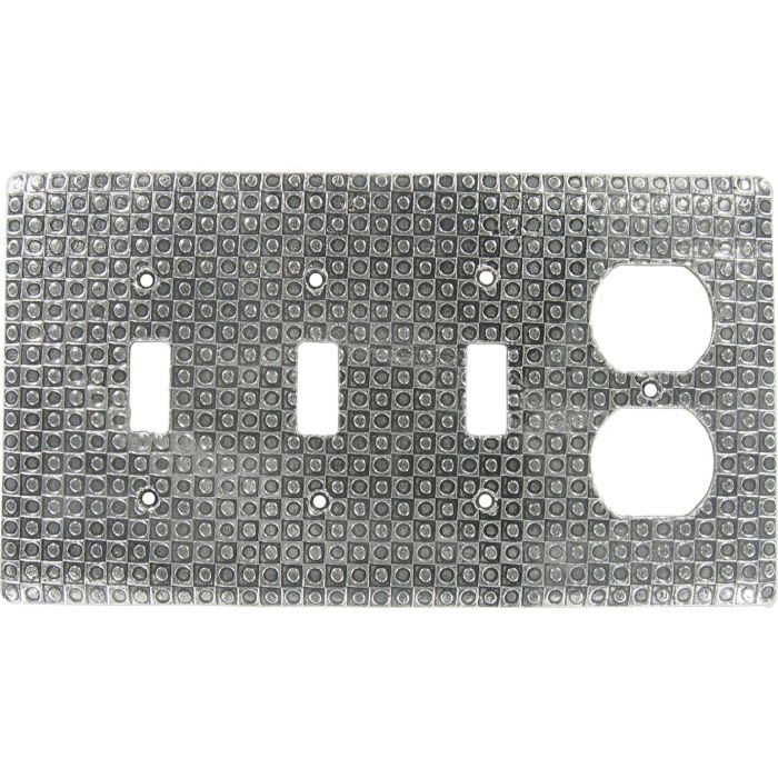 Checkers Combination Triple 3 Toggle / Outlet Wall Plate Covers