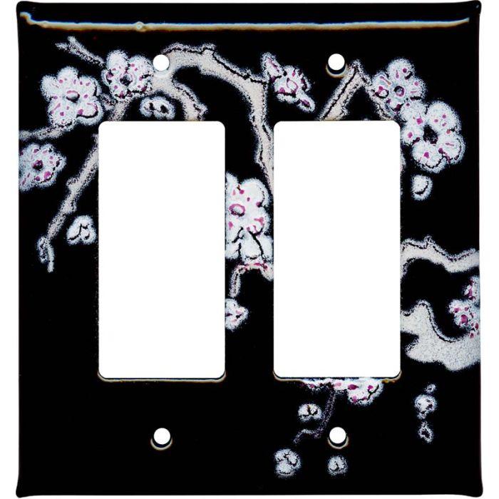 Cherry Blossoms 2 Gang Double GFCI Rocker Decorator Wallplates