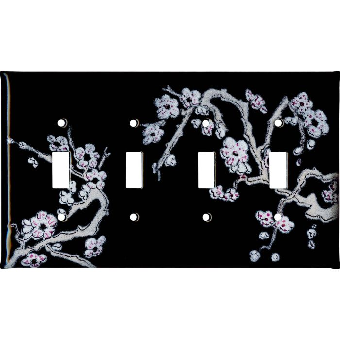 Cherry Blossoms Quad 4 Toggle Light Switch Covers