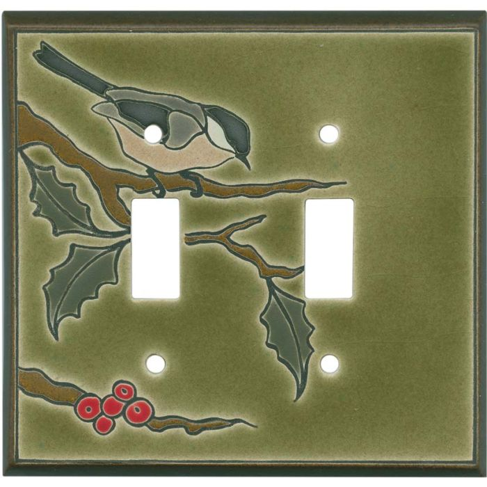 Chickadee on Branch Ceramic Double 2 Toggle Switch Plate Covers
