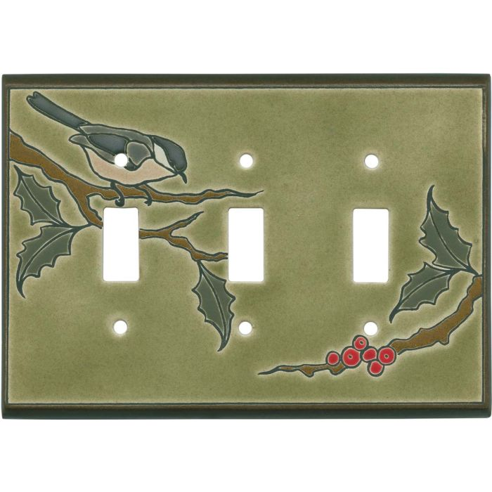 Chickadee on Branch Ceramic Triple 3 Toggle Light Switch Covers