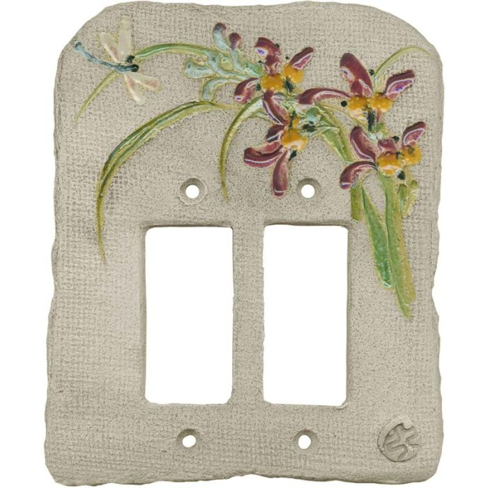 Chinese Orchid Maroon 2 Gang Double GFCI Rocker Decorator Wallplates