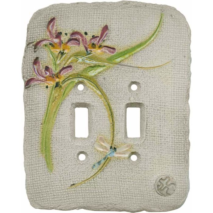 Chinese Orchid Maroon Double 2 Toggle Switch Plate Covers