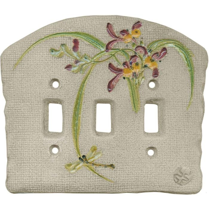 Chinese Orchid Maroon Triple 3 Toggle Light Switch Covers