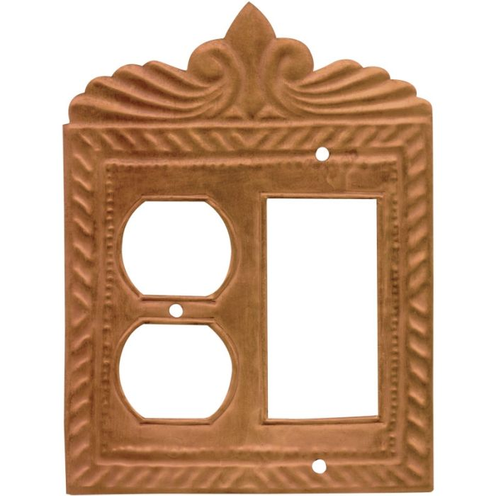 Gran Britannia Oxidized 1-Duplex / 1 Decorator Rocker - Combination Switch Cover