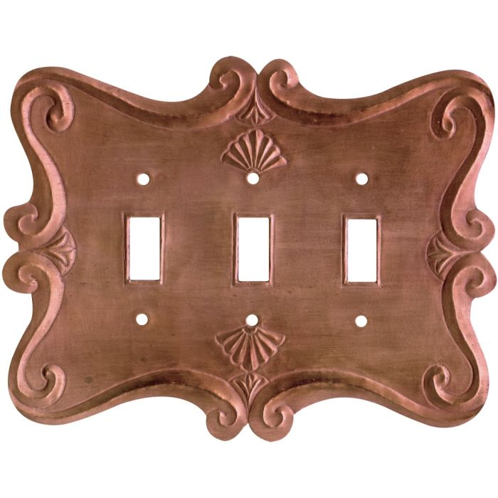 Shell Oxidized Triple 3 Toggle Light Switch Covers