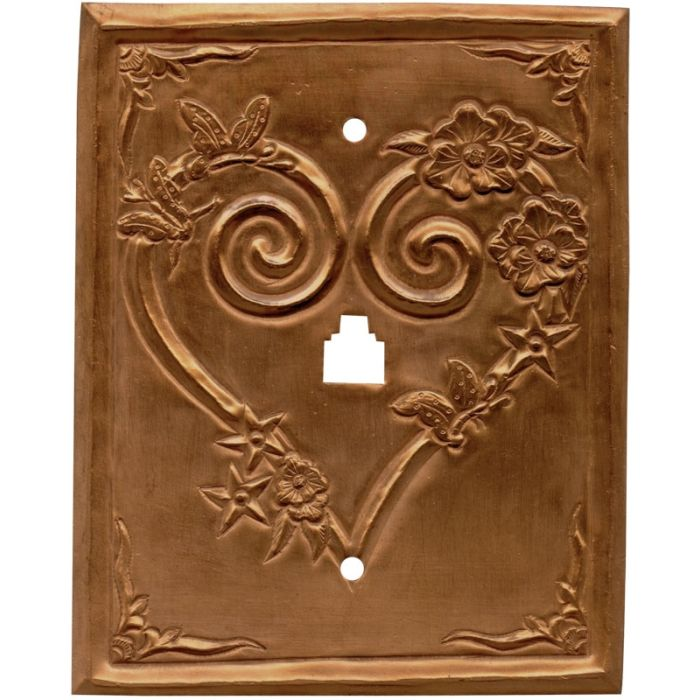 Hearts Oxidized 1 Toggle Light Switch Cover