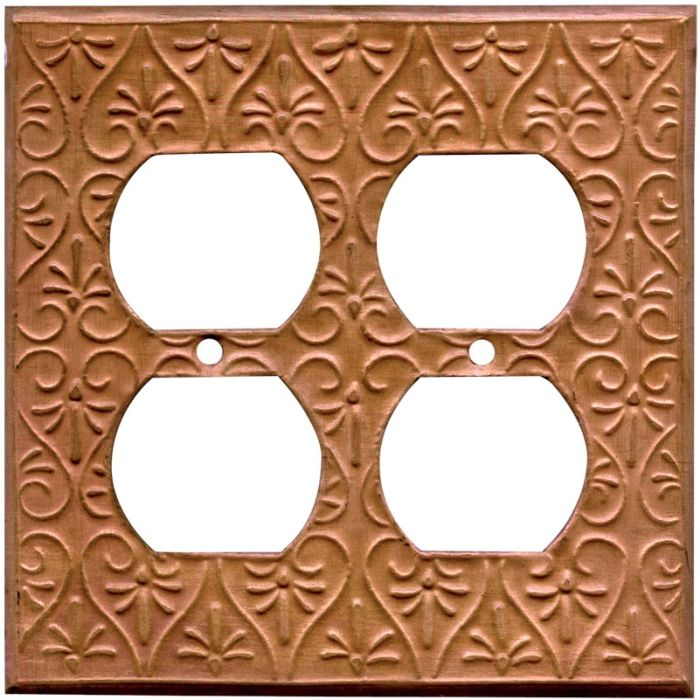 Filigree Oxidized 2 Gang Double Electrical Outlet Covers