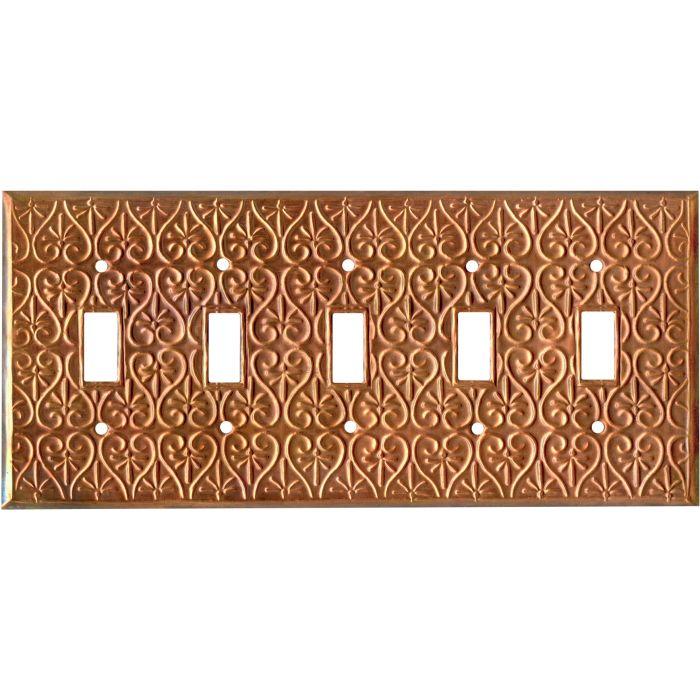 Filigree Oxidized 5 Toggle Wall Switch Plates