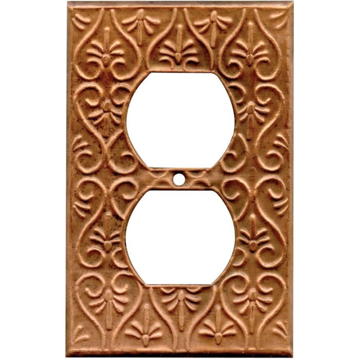 Filigree Oxidized 1 Gang Duplex Outlet Cover Wall Plate