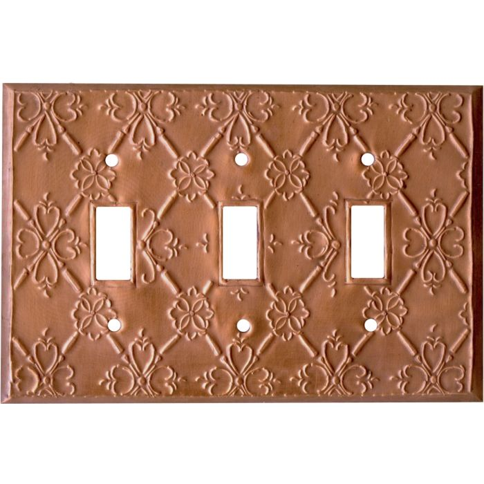 Baroque Oxidized Triple 3 Toggle Light Switch Covers