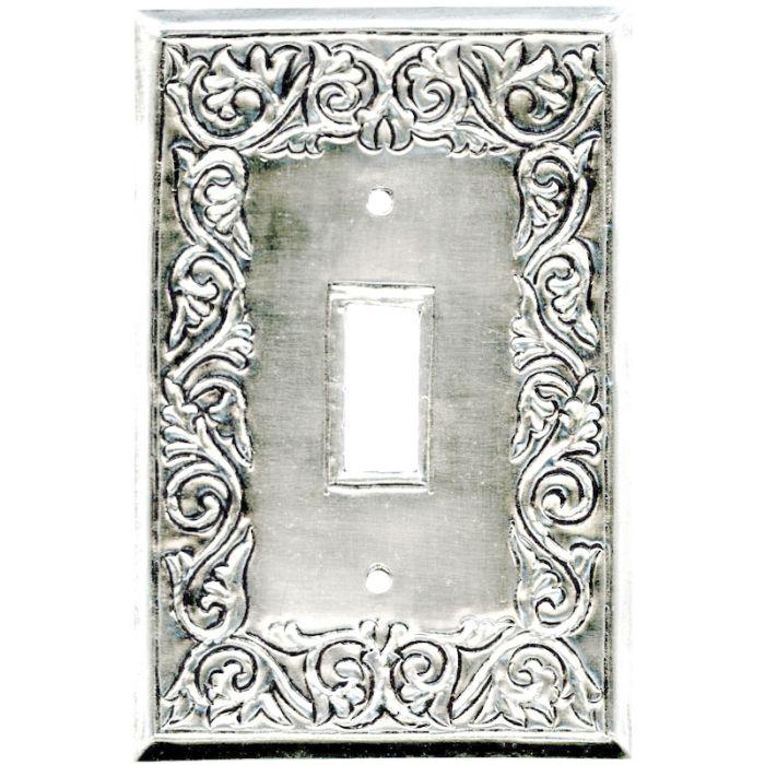 Scroll Silver Single 1 Toggle Light Switch Plates