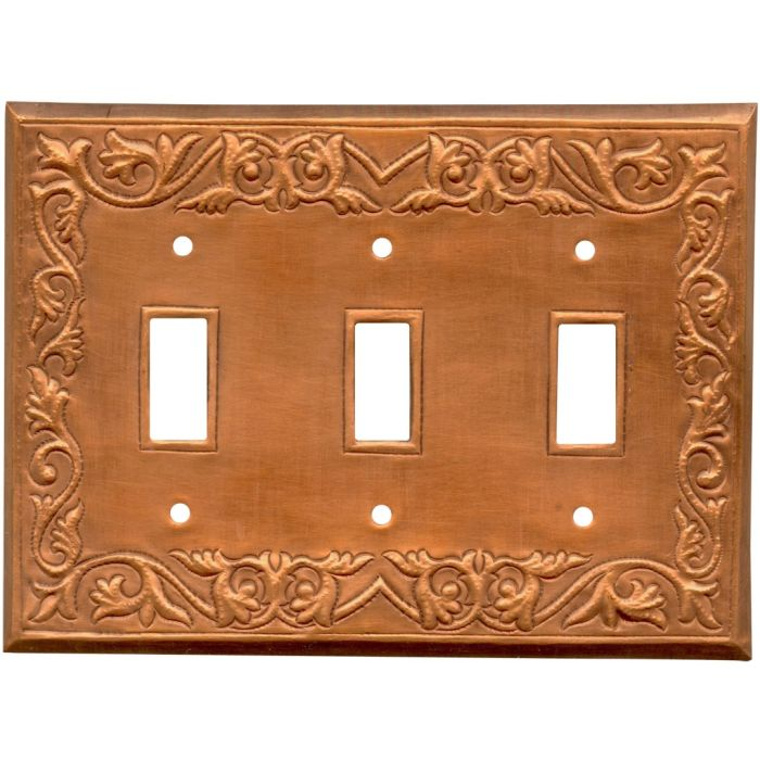 Scroll Oxidized Triple 3 Toggle Light Switch Covers