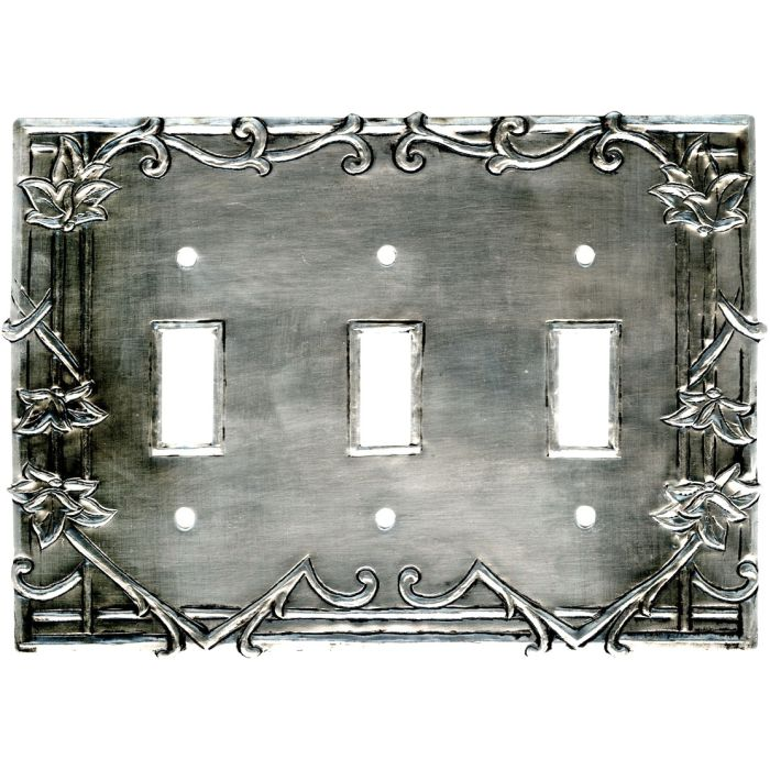 Ivy Silver Triple 3 Toggle Light Switch Covers