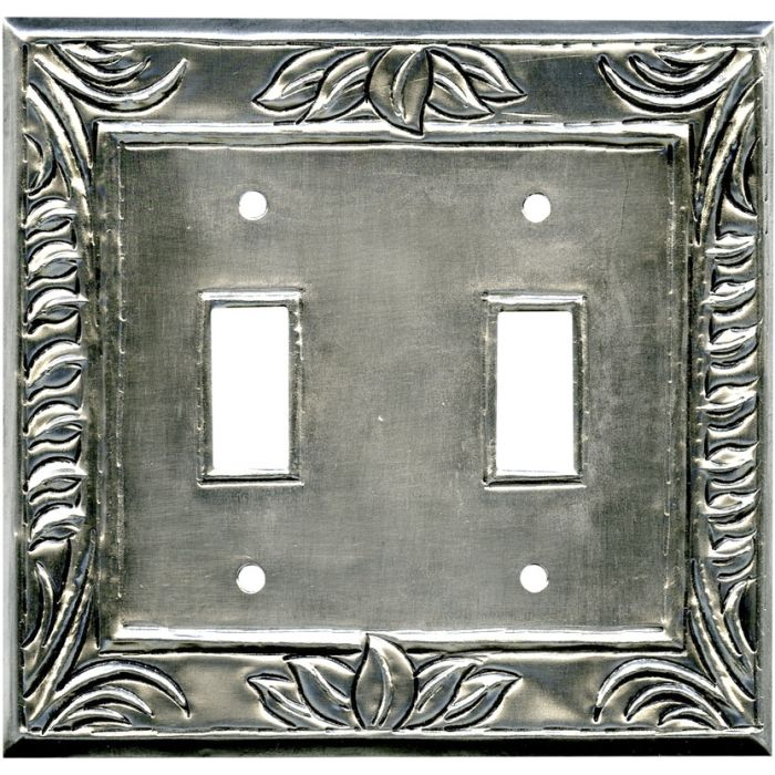 Wheat Silver Double 2 Toggle Switch Plate Covers