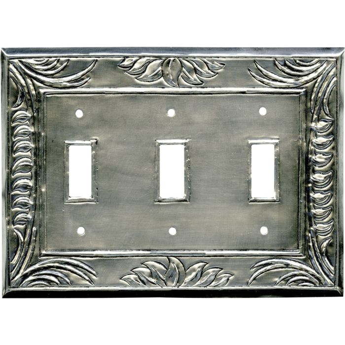 Wheat Silver Triple 3 Toggle Light Switch Covers