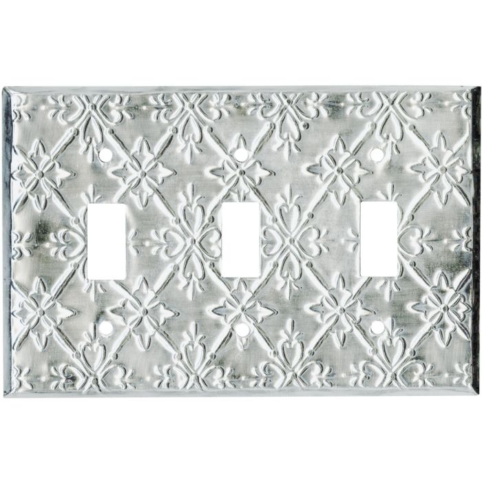 Baroque Silver Triple 3 Toggle Light Switch Covers
