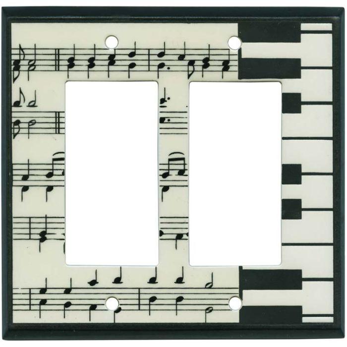 Classical Music Ceramic 2 Gang Double GFCI Rocker Decorator Wallplates