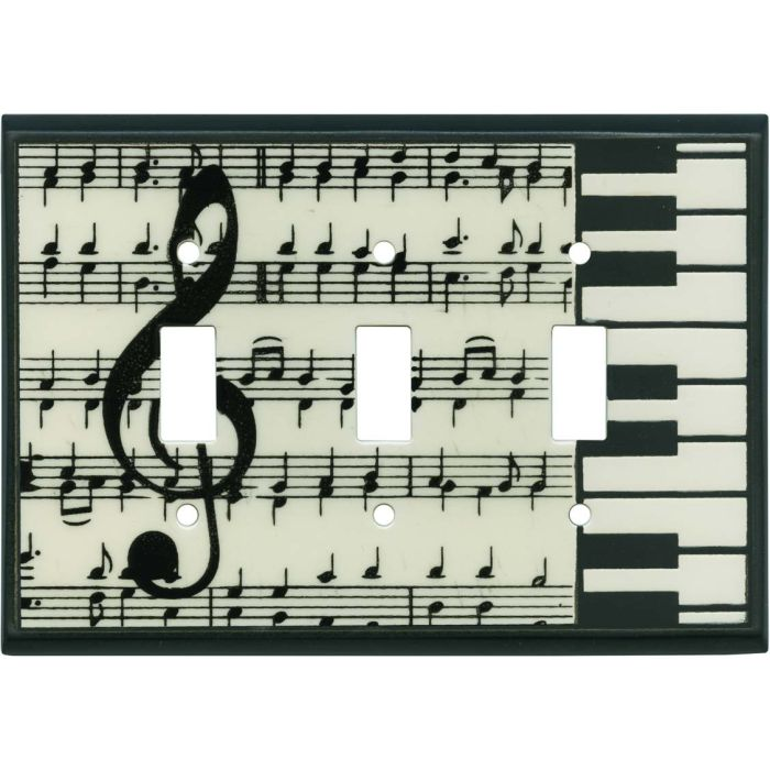 Classical Music Ceramic Triple 3 Toggle Light Switch Covers
