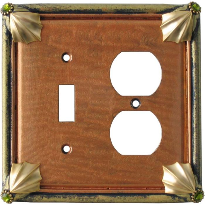 Cleo Amber Jade Combination 1 Toggle / Outlet Cover Plates
